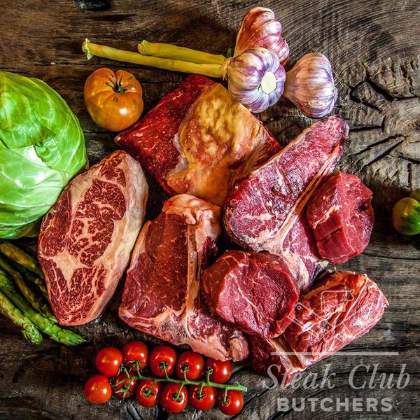 Super sampler set from steak club includes one of each: Ribeye 300g, Fillet 200g, T-bone 700g, NY Strip 300g